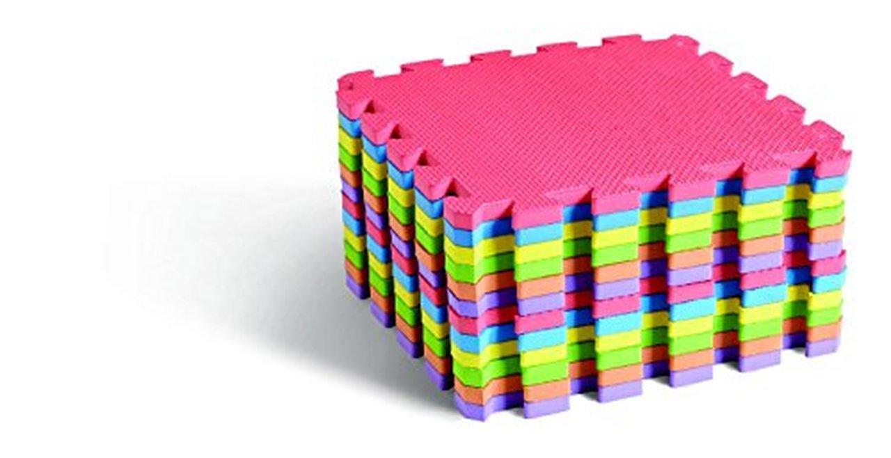 Edushape Edu-Tiles 25 Piece Solid Play Mat with Edges & Corners