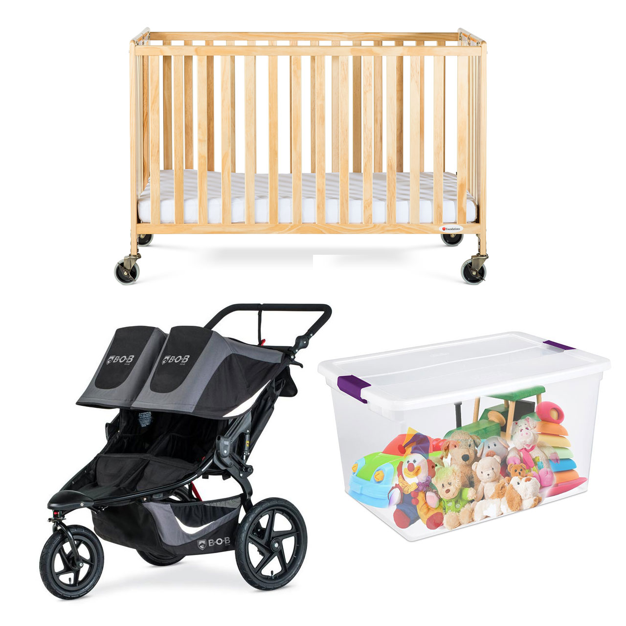 PACKAGE 19  (FULL CRIB, BOB DOUBLE STROLLER, BUCKET OF TOYS, HIGH CHAIR)