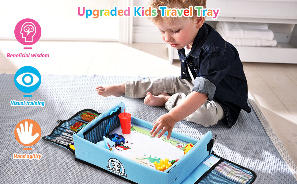 Kids Travel Tray with Dry Erase Top Car Seat Travel Tray