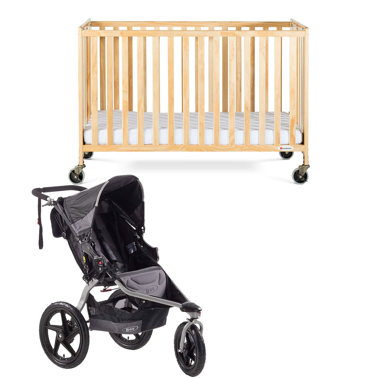 PACKAGE 14 (FULL SIZE FOLDING CRIB WITH BOB SINGLE STROLLER)
